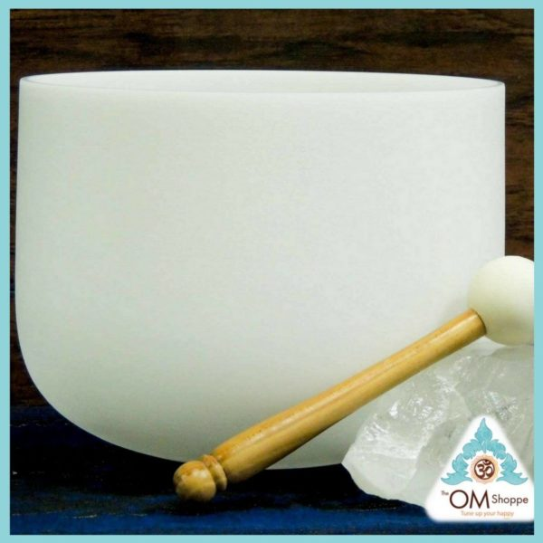 CHAKRA THROAT NOTE G 9 INCH CRYSTAL SINGING BOWL WITH O RING AND STRIKER FREE SHIPPING THE OM SHOPPE